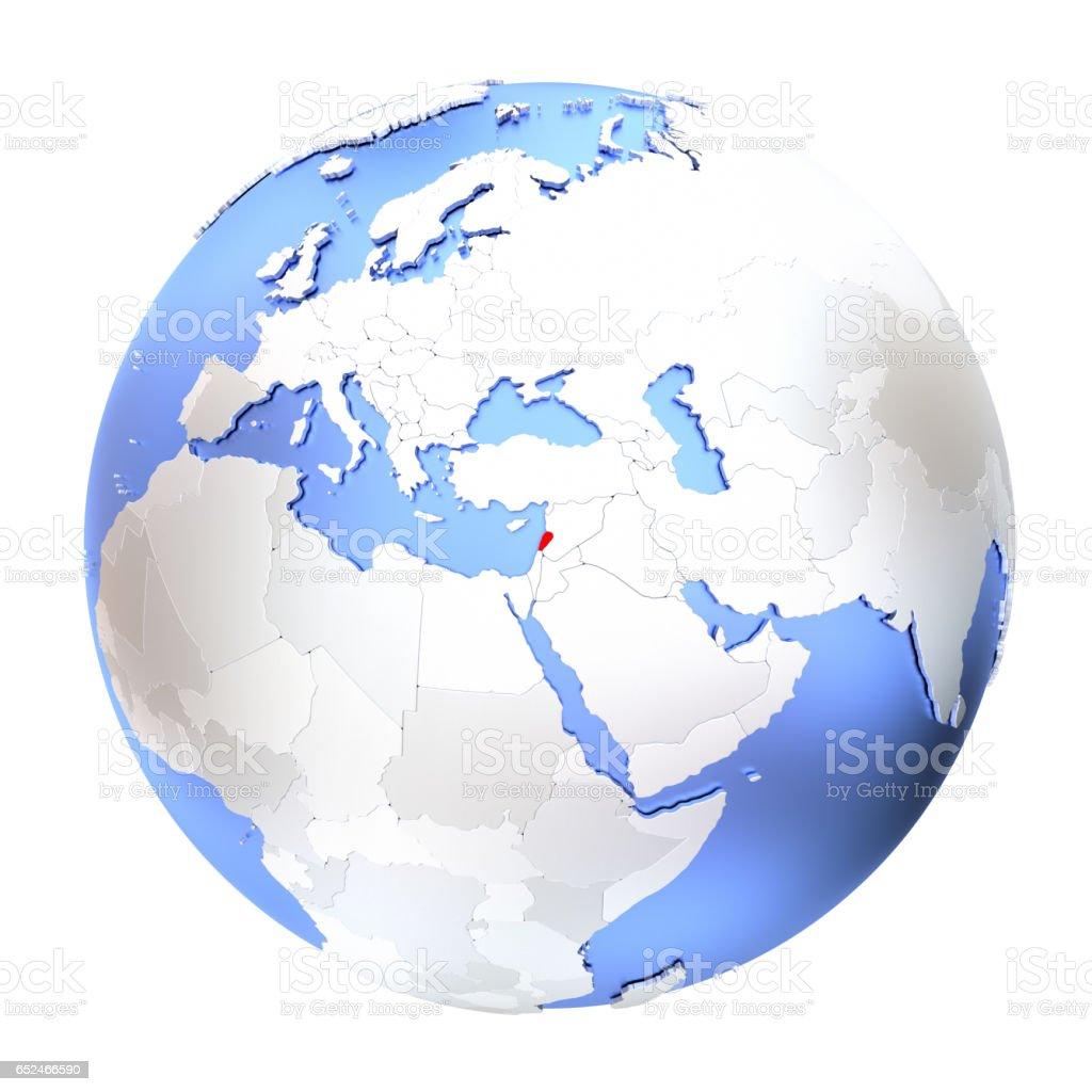 Lebanon on metallic globe isolated stock photo