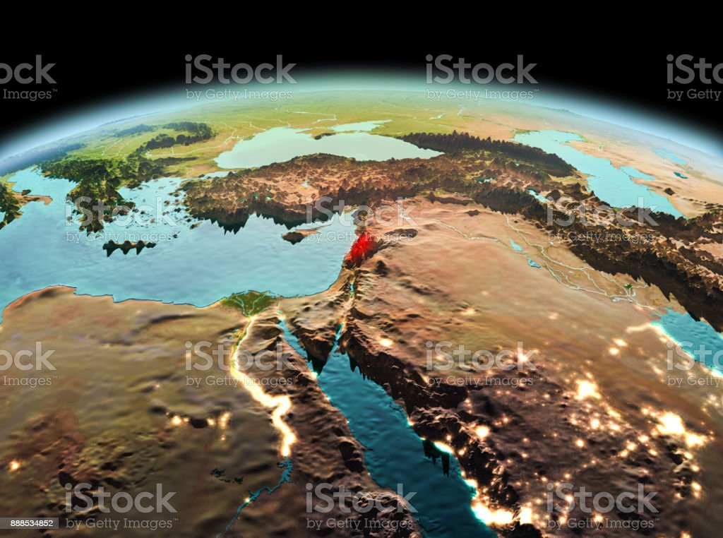 Lebanon on planet Earth in space stock photo
