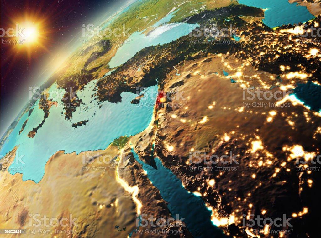 Lebanon on planet Earth in sunset stock photo