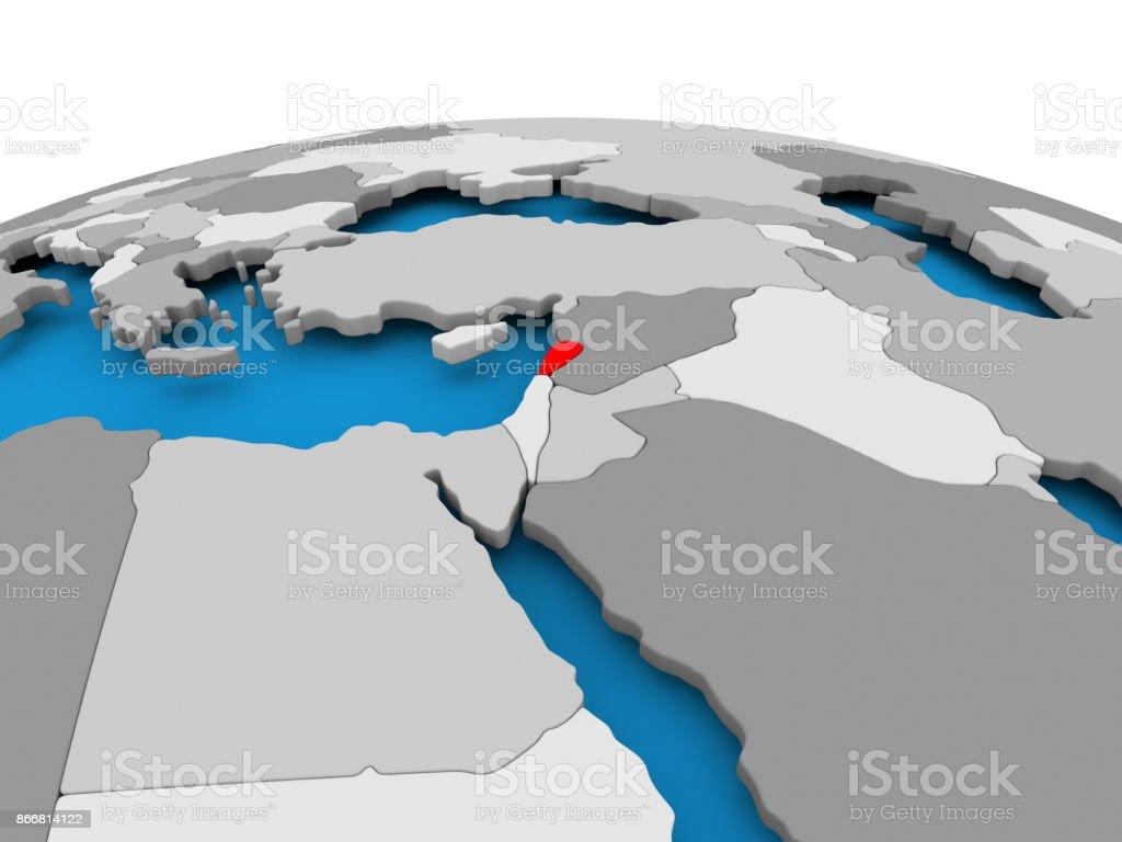 Lebanon on political globe stock photo