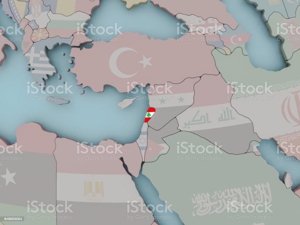 Lebanon on political globe with flag stock photo