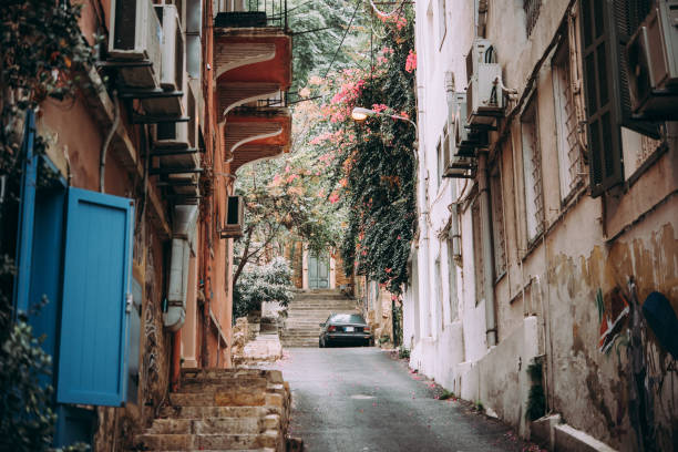 Lebanon View of one of the streets in Gemmayze district of Beirut, Lebanon. beirut stock pictures, royalty-free photos & images