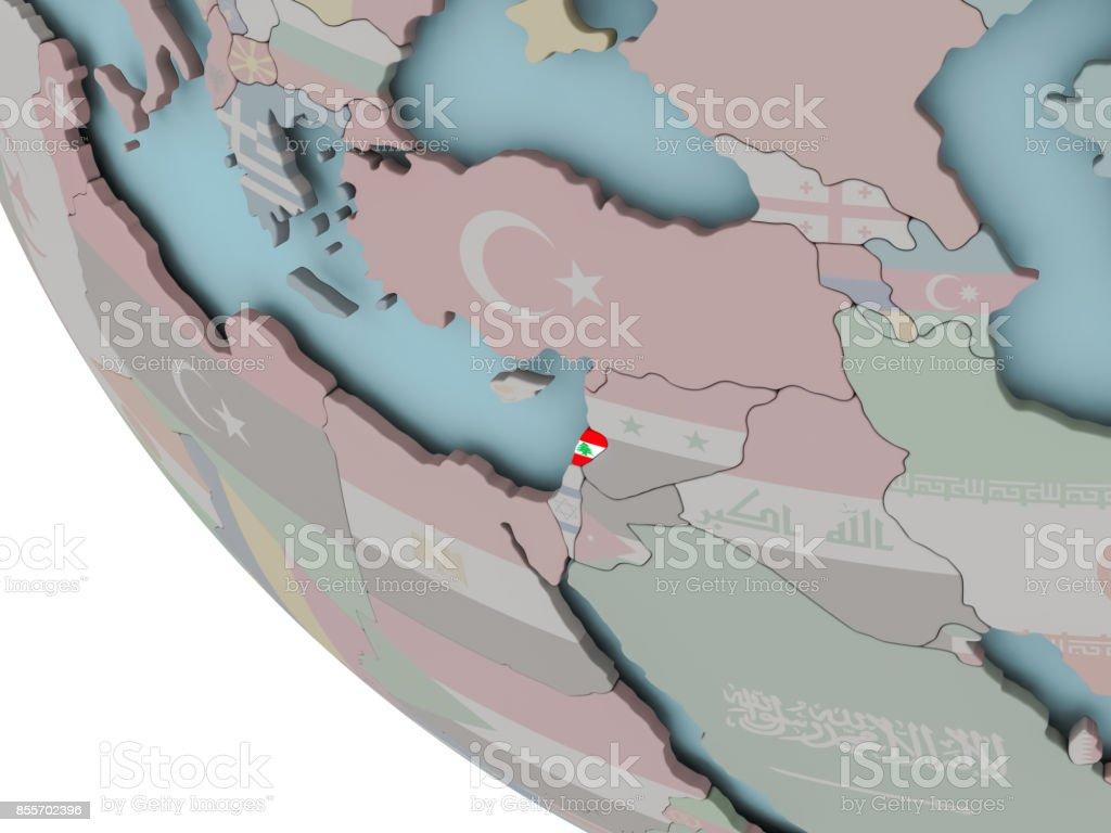 Lebanon with flag illustration stock photo