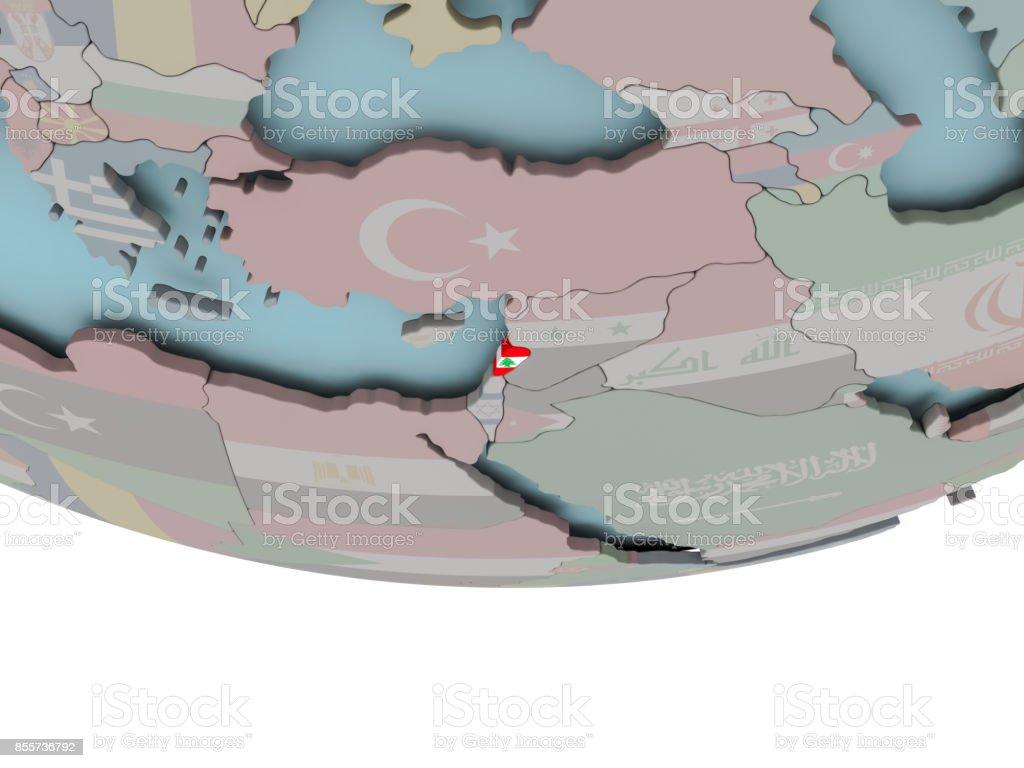 Lebanon with flag on globe stock photo