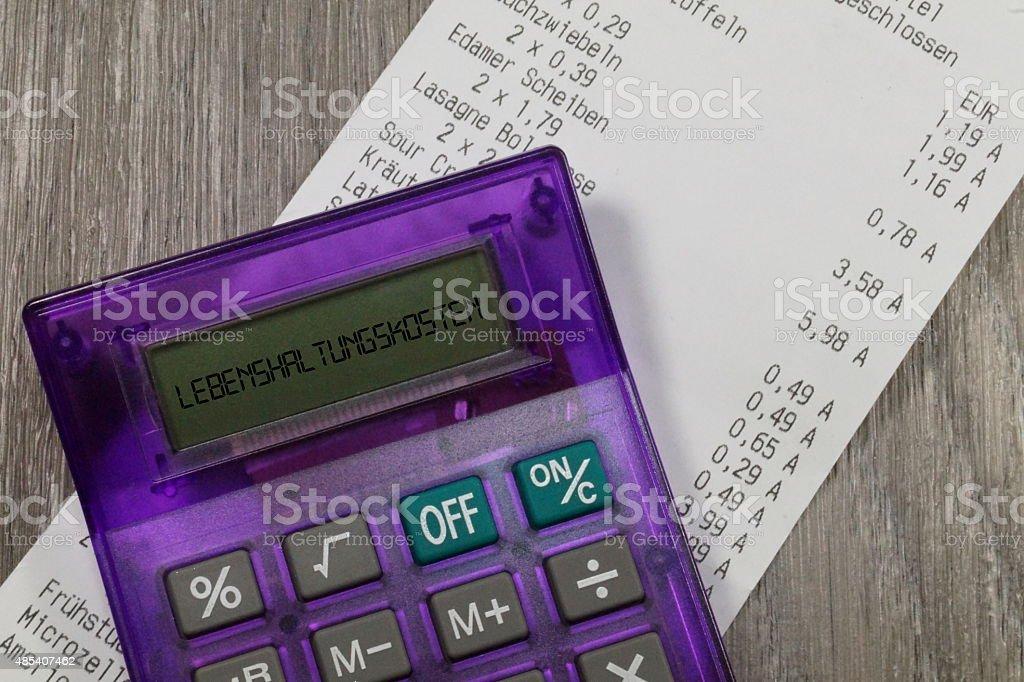 Lebenshaltungskosten Kassenzettel stock photo