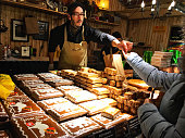 Bern, Switzerland - December 14, 2015: Lebkuchen gingerbread on Christmas market in Bern, Switzerland.  Lebkuchen is a traditional German baked Christmas treat, somewhat resembling gingerbread.