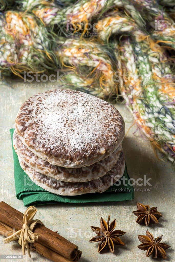 Lebkuchen, typical spicy Christmas cookies of German origin, especially Nuremberg. - foto stock