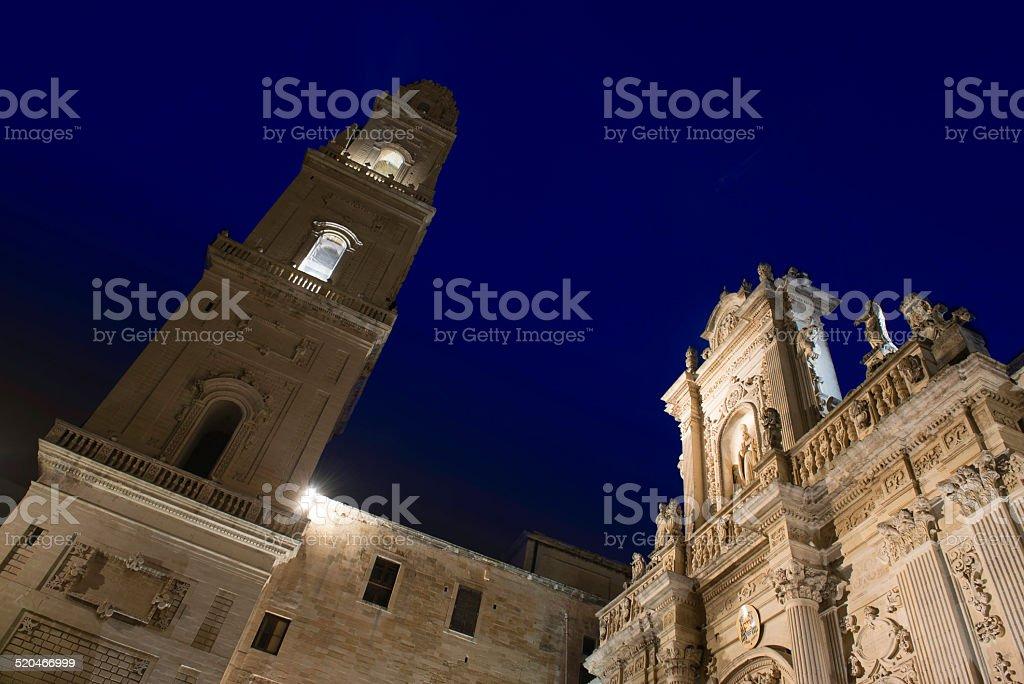 Lecce, in Italy. Santa MAria Assunta Church Seen at Night stock photo