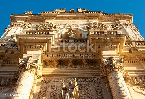 Lecce (Puglia), Italy: Baroque Facade of Church of San Giovanni Battista (also called the Rosary) at Golden Hour