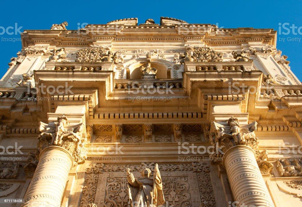 Lecce (Puglia), Italy: Baroque Facade of Church of San Giovanni stock photo