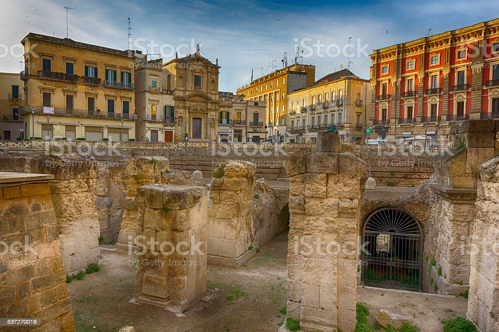 Lecce, ruins of Roman amphitheater stock photo