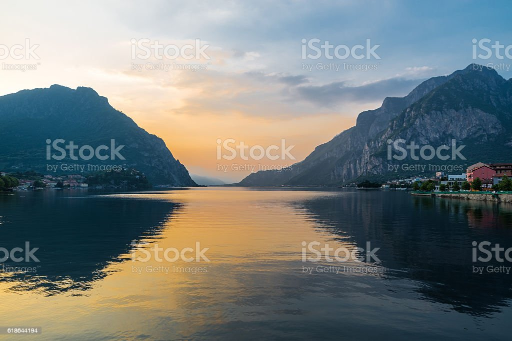 Lecco and lake Como at sunset, Italy stock photo