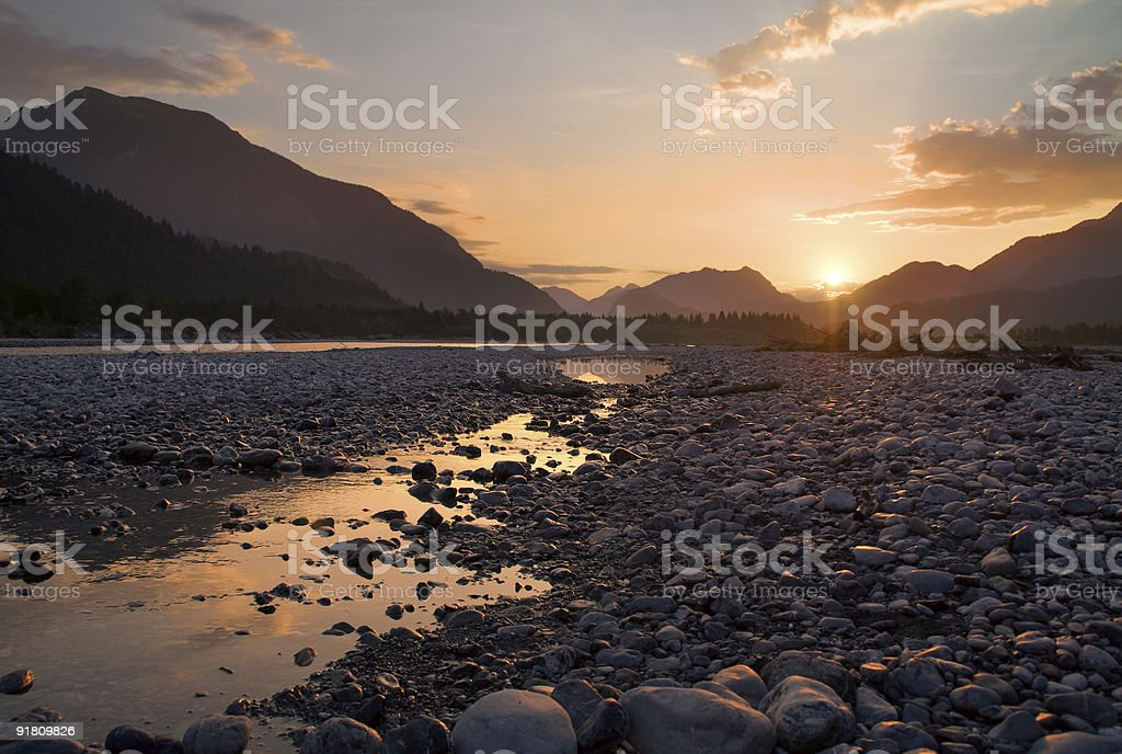 Lech river at morning stock photo
