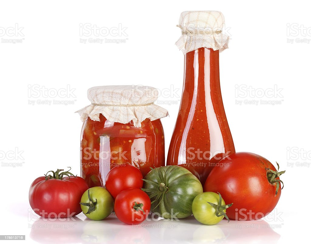 Lecho and ketchup in glass jar royalty-free stock photo