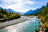 Lechriver with view of the Lechtaler Alps, Tirol, Austria