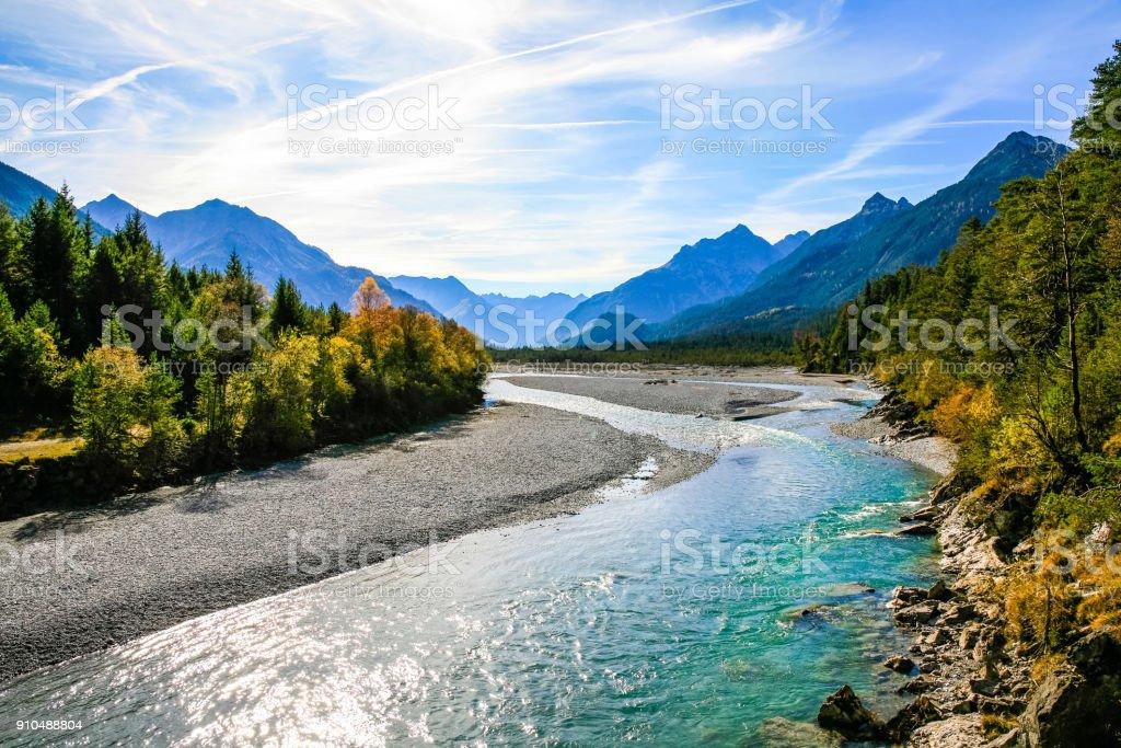 Lechriver at autumn, near Forchach, Lechtaler Alps, Tirol, Austria stock photo