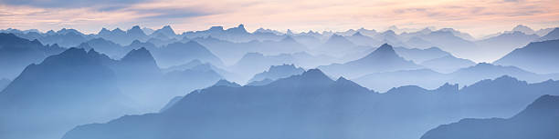 lechtal panorama from mt. zugspitze - germany  bavarian alps stock pictures, royalty-free photos & images