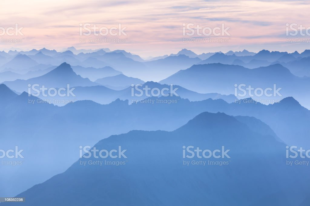 lechtal panorama from mt. zugspitze - germany stock photo