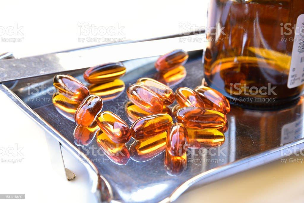 Lecithin supplement capsules stock photo