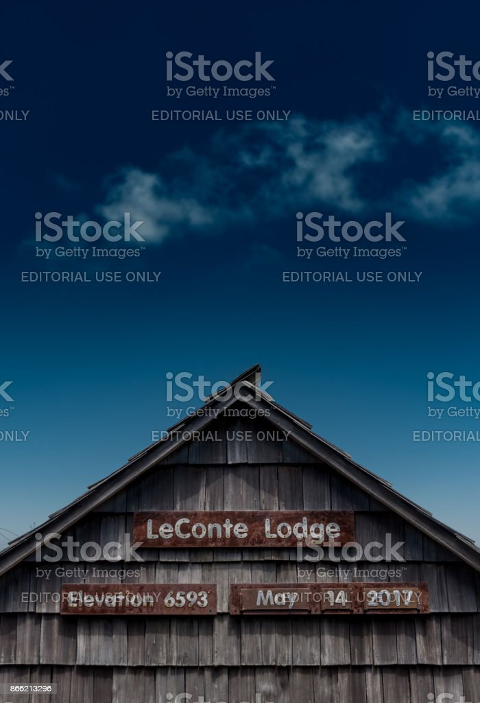 LeConte Lodge and Blue Sky stock photo