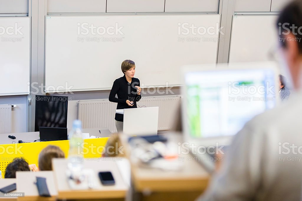 Lecture at university. stock photo