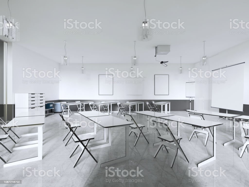 Excellent Lecture Chairs And Desk In A Class Room With Panoramic Pdpeps Interior Chair Design Pdpepsorg