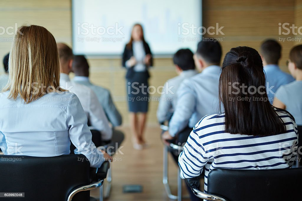 Lecture for business people stock photo