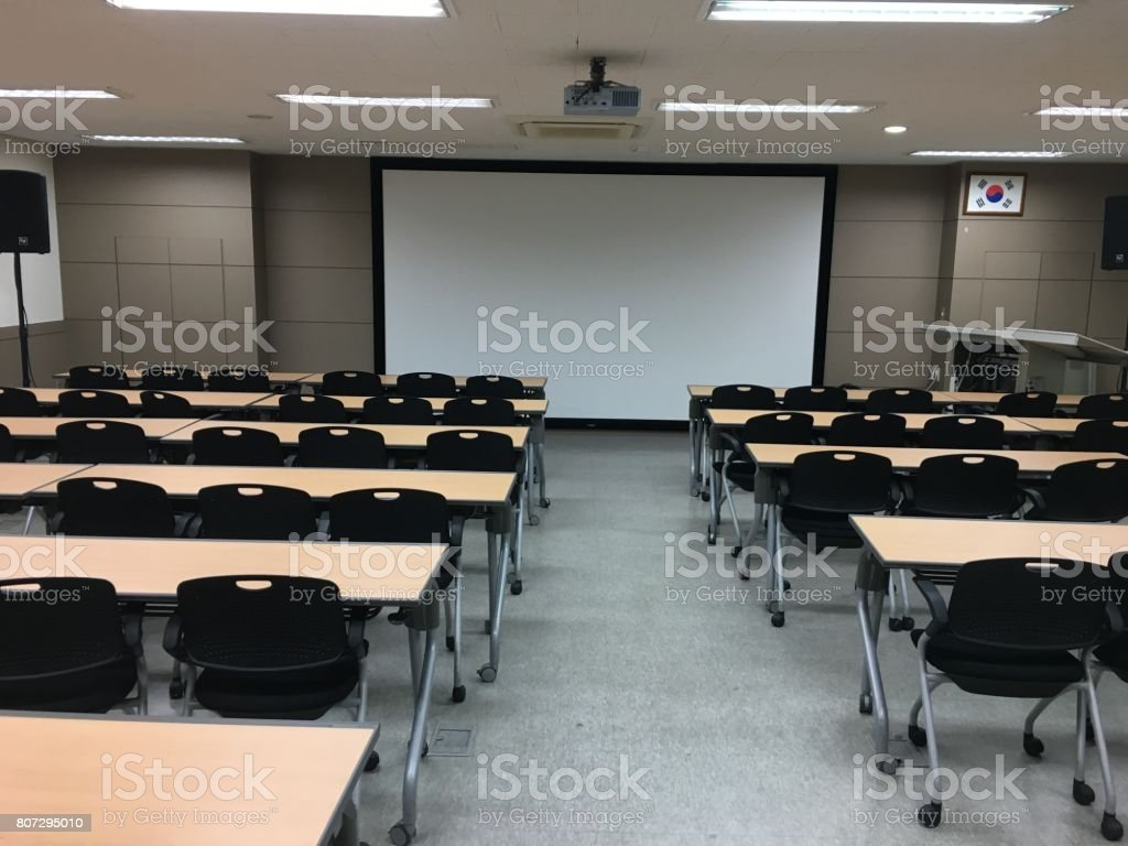 Lecture Hall Empty University Classroom With Two Blocks Of Chairs Royalty Free Stock Photo
