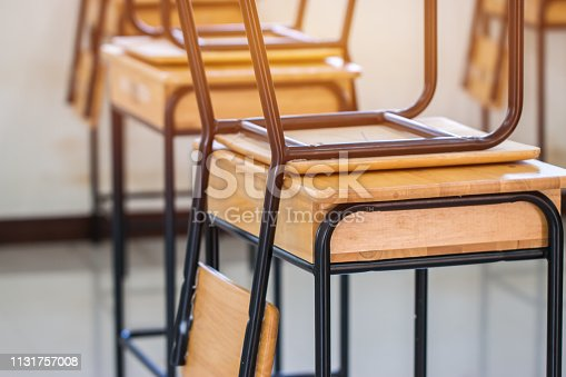 1047047834 istock photo Lecture room or School empty classroom with desks and chair iron wood in high school thailand, interior of 1131757008