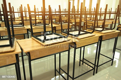 1047047834 istock photo Lecture room or School empty classroom with desks and chair iron wood in high school thailand, interior of  secondary education, vintage tone educational concept 887100440