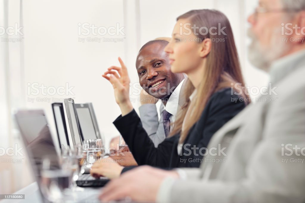 lecturer and the participants in lectures royalty-free stock photo