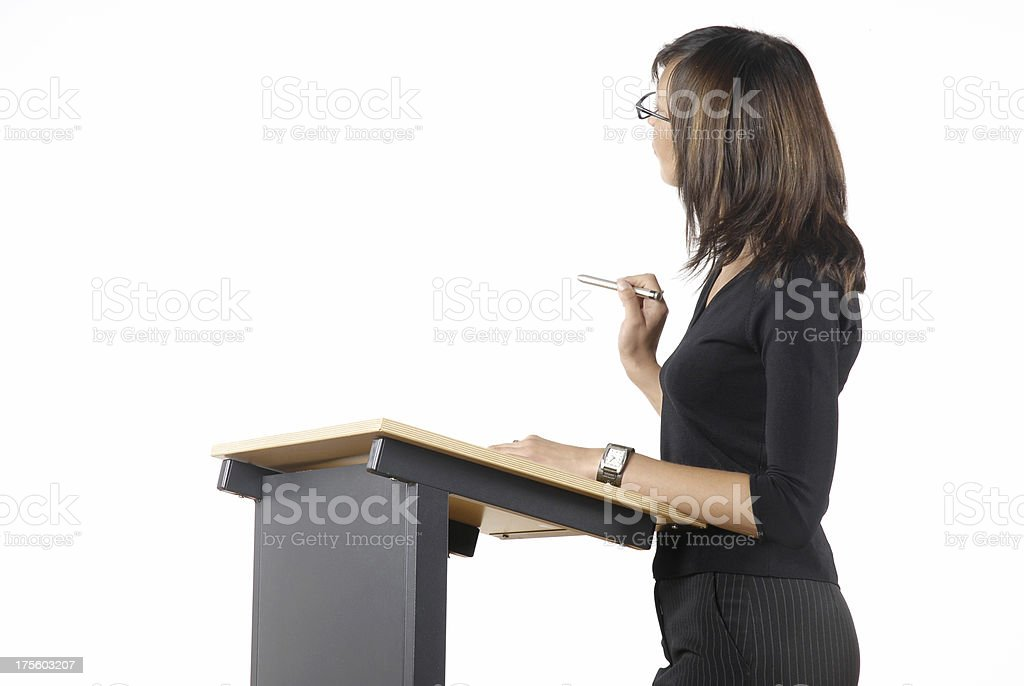 Lecturer on white royalty-free stock photo