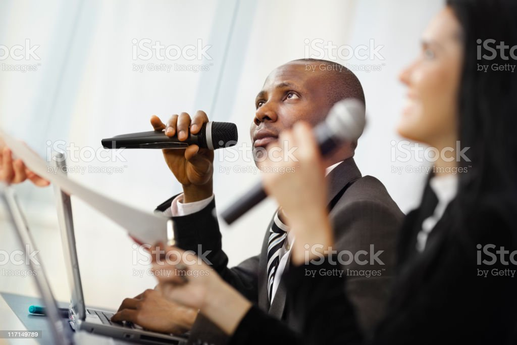 lecturer teaches business content royalty-free stock photo
