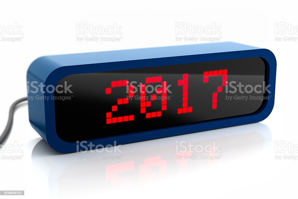 Led display of 2017 new year, isolated on white stock photo