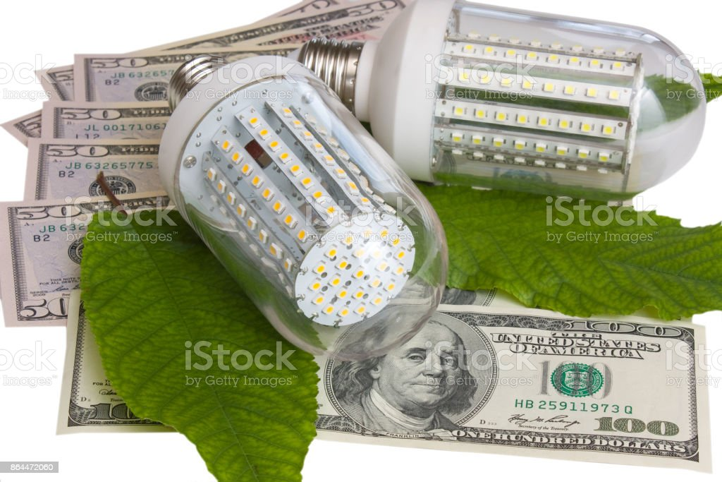 Led light and dollars. stock photo