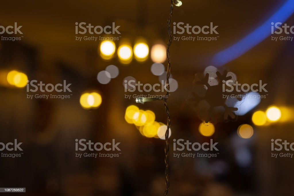 led lights at restaurant window at advent month december in south...