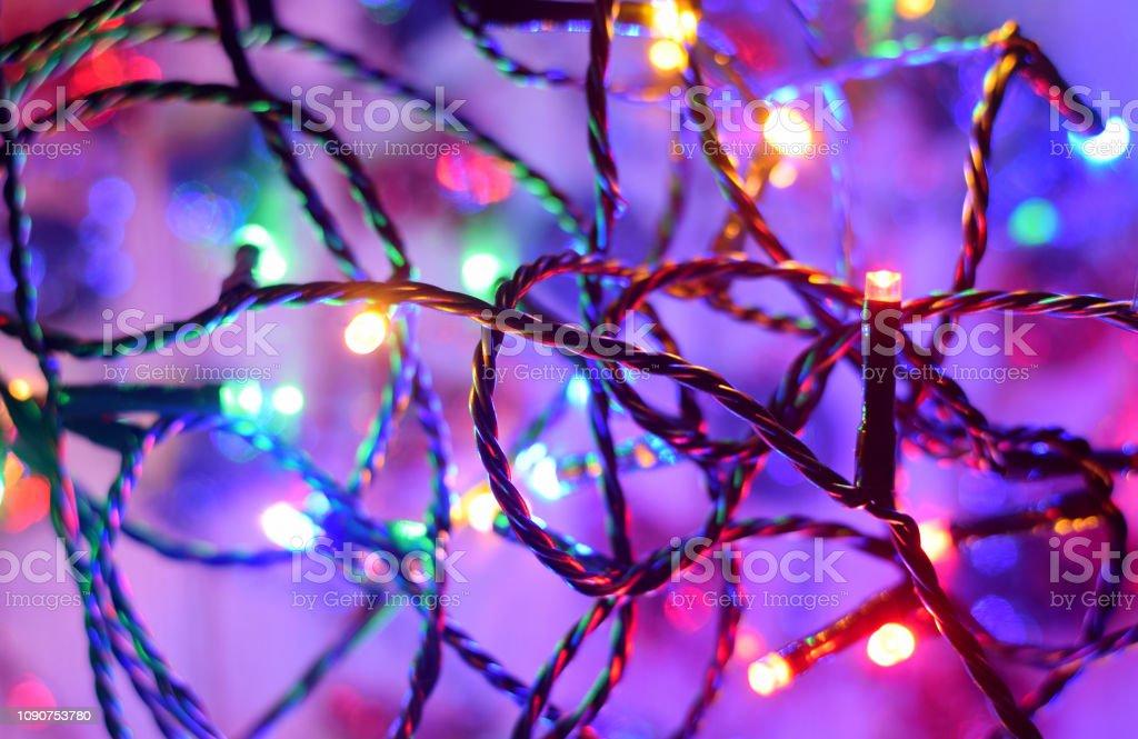 Led lights of garlanda on dark holiday background