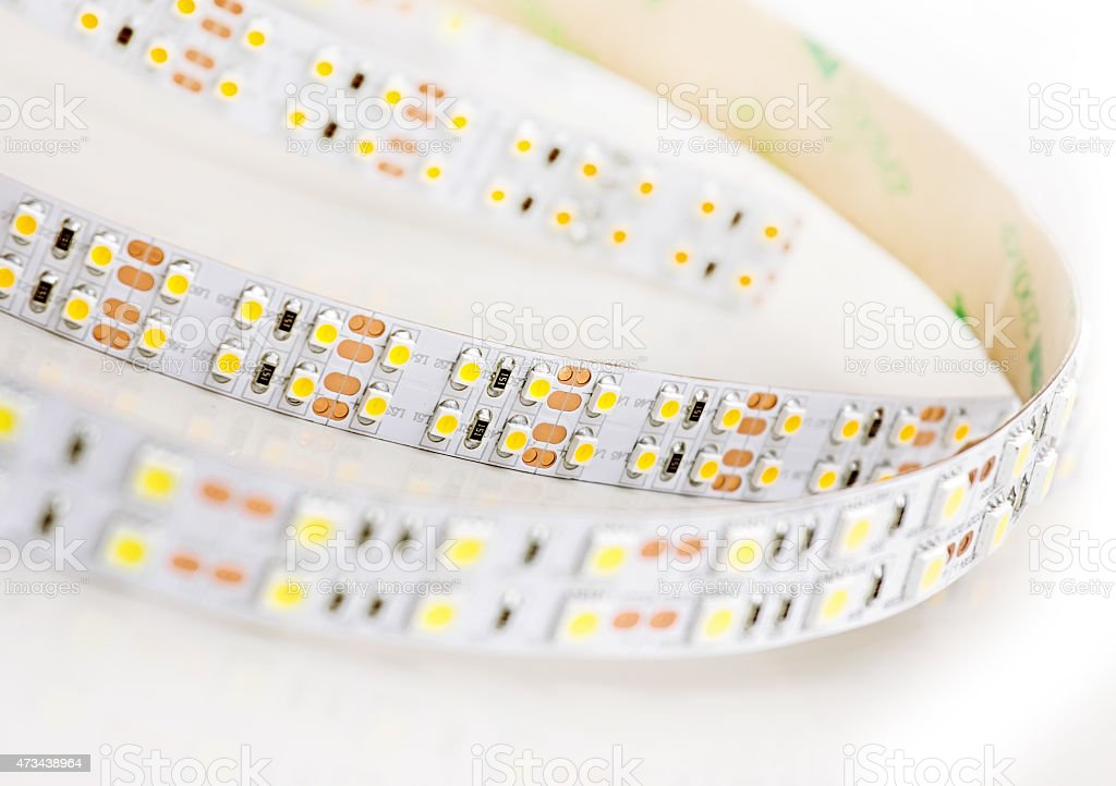 Led lights strip on white background. stock photo