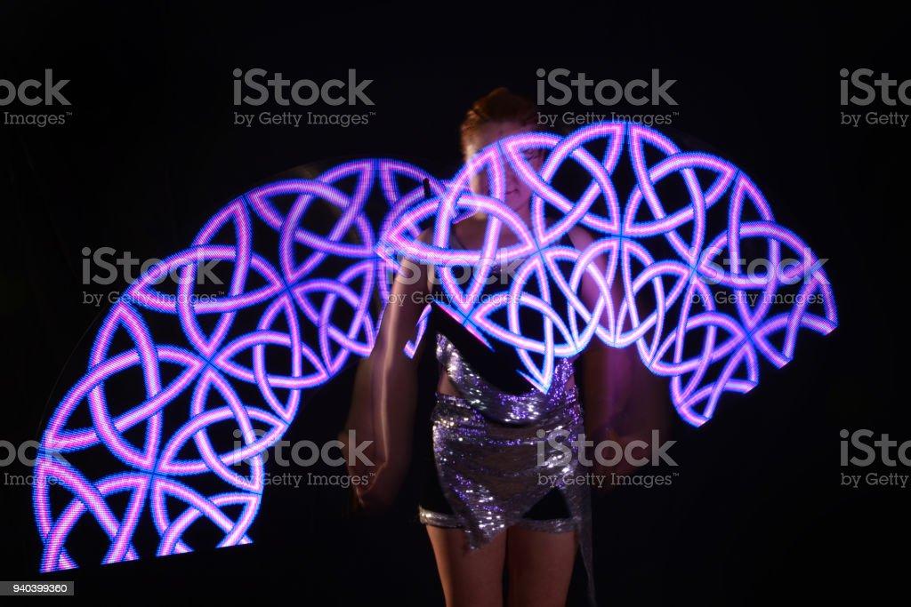Poi Led Performance Laser Danseuse Libre Show Droit De Photo pVSMqUz