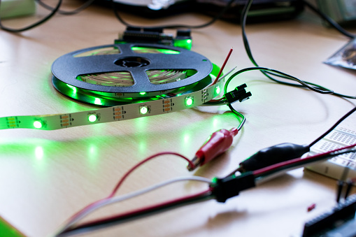 Rgb Led Strip Addressable Controlled By A Microcontroller Open Source To Have Green Color Flux Stock Photo - Download Image Now