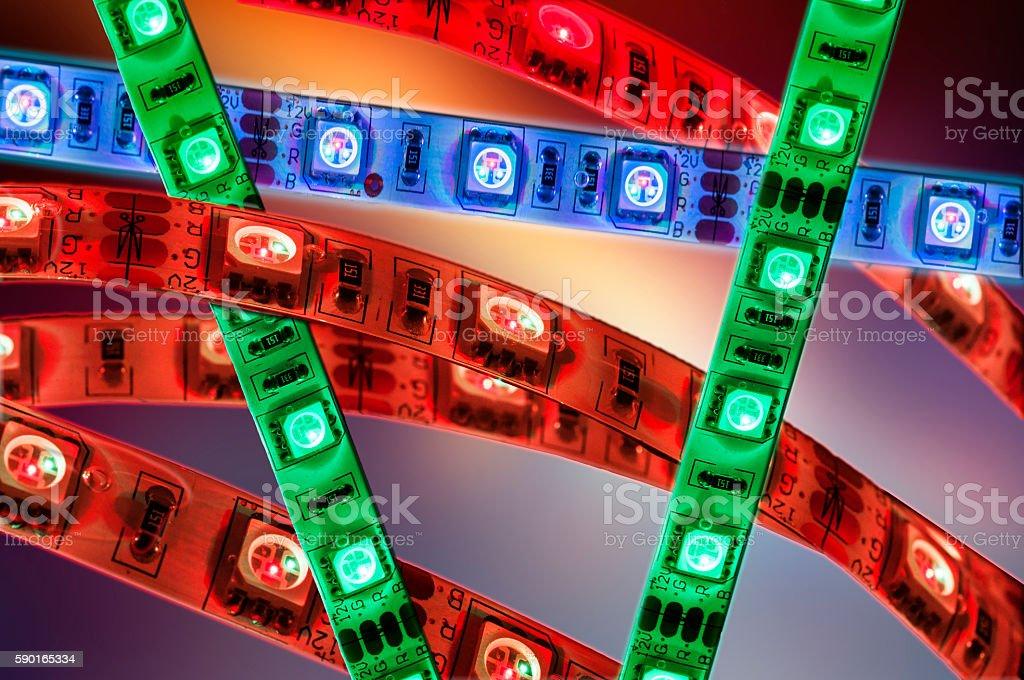 led strip lights lamp, flexible decoration led stock photo