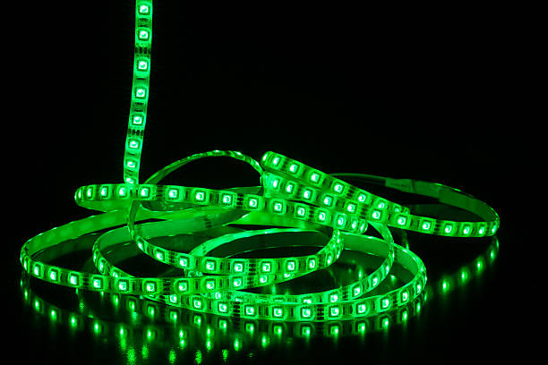 Led stripe Green Led stripe light on black background undressing stock pictures, royalty-free photos & images