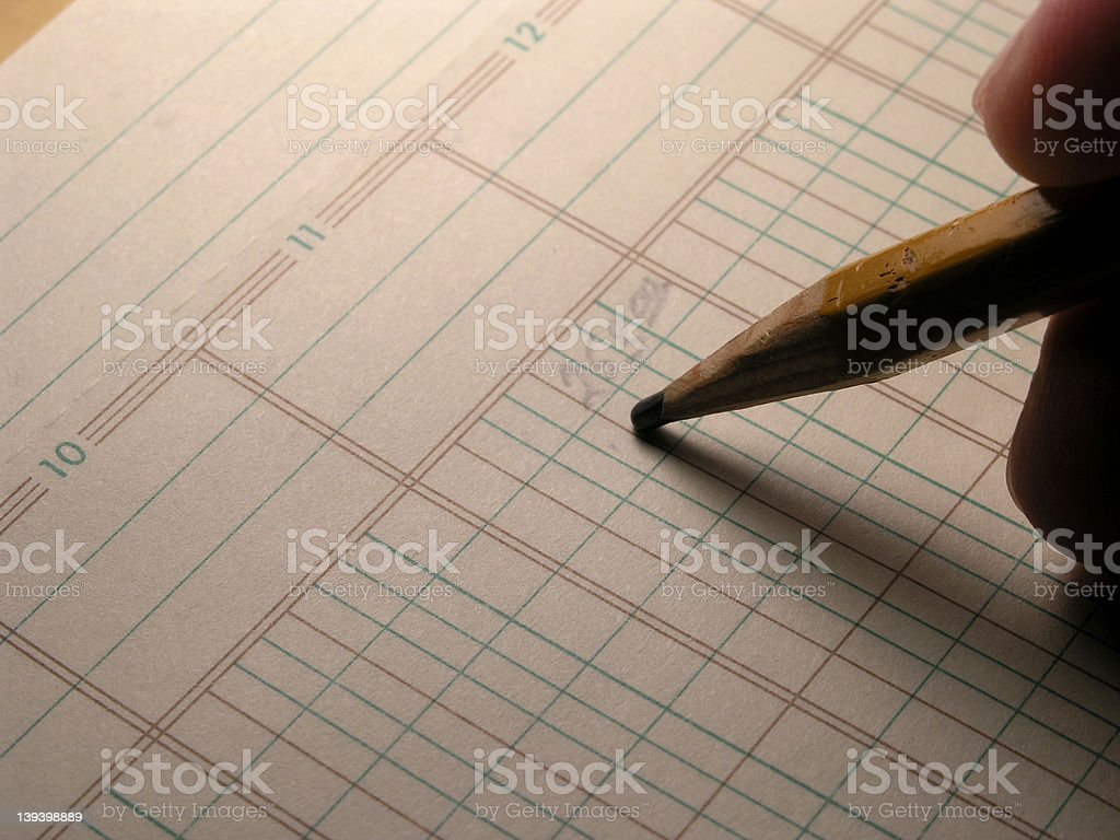 Ledger Entry - Dull Pencil stock photo
