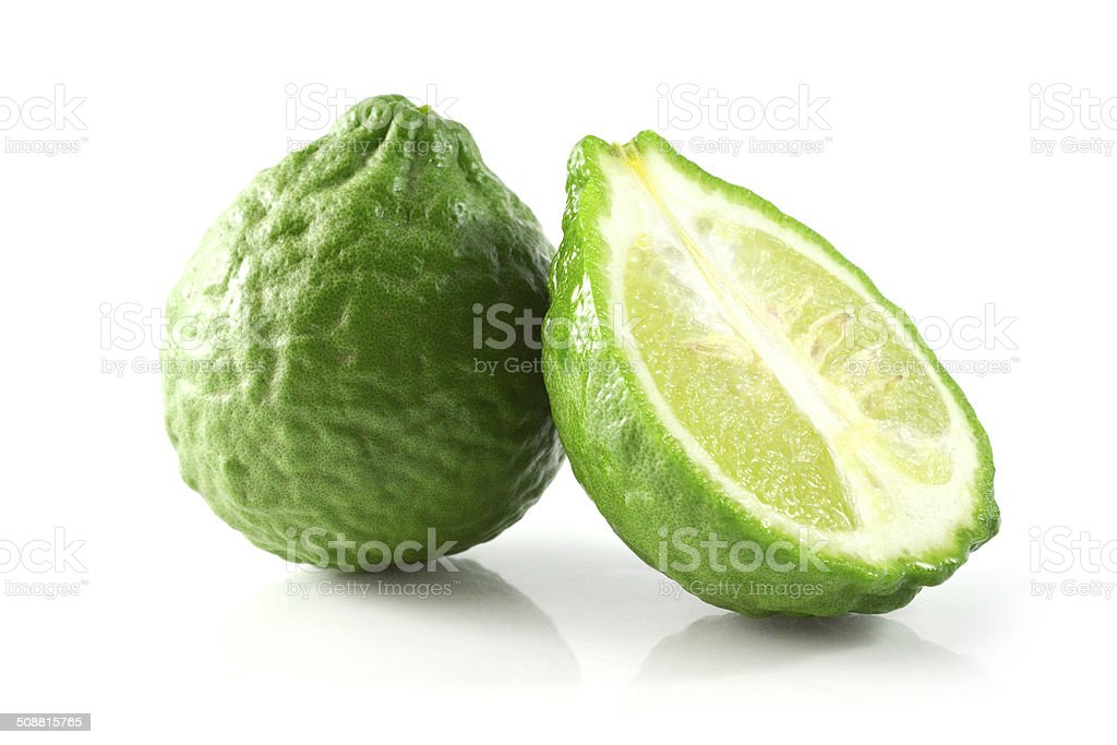 leech lime fruits isolated on white stock photo