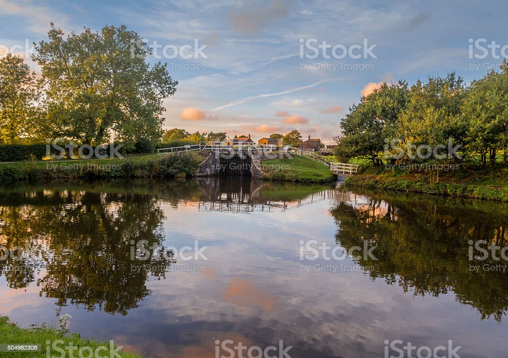 Leeds and Liverpool Canal in Evening Light, Chorley, Lancashire, UK stock photo