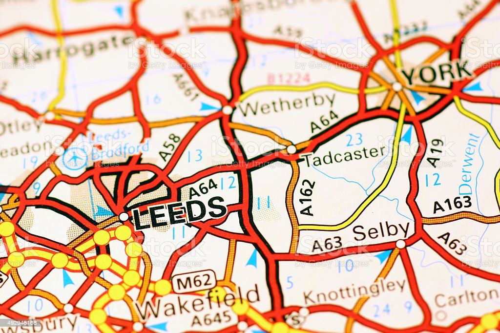 Leeds area on a map stock photo
