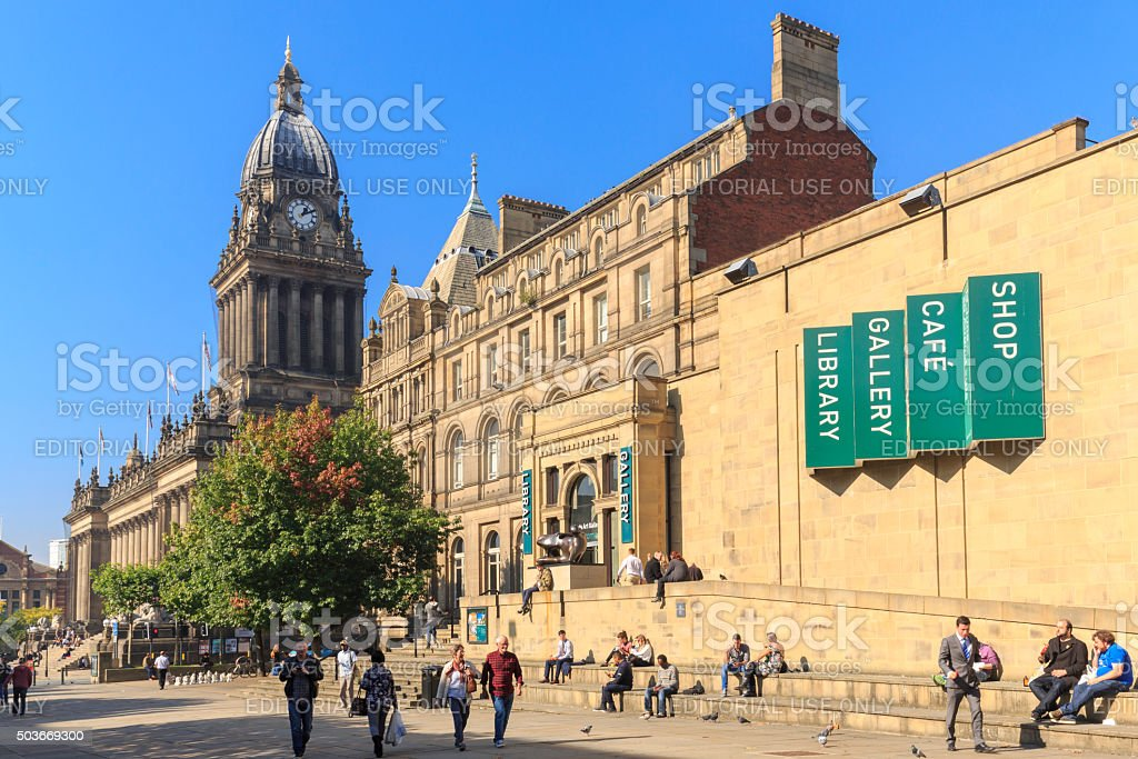 Leeds Art Gallery and Town Hall stock photo