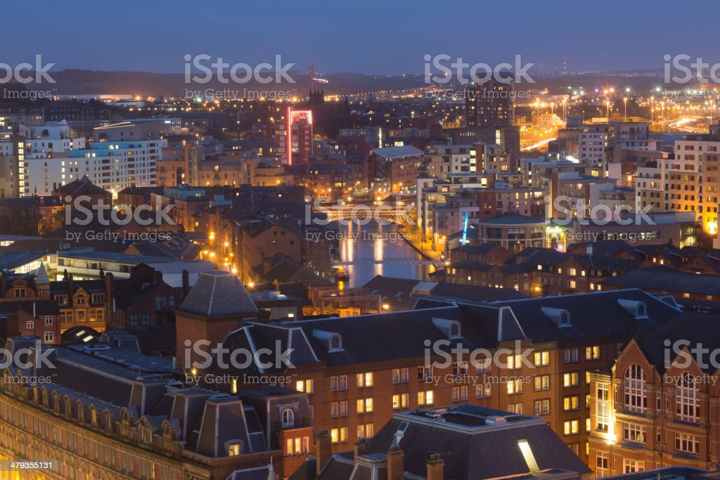 Leeds at night stock photo