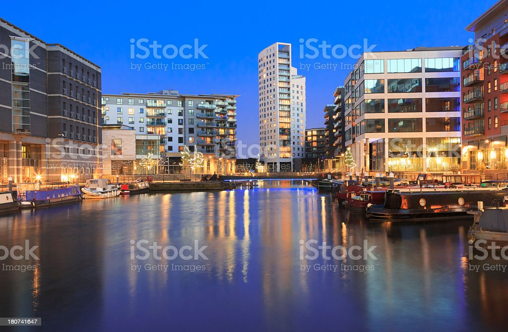 Leeds by night stock photo