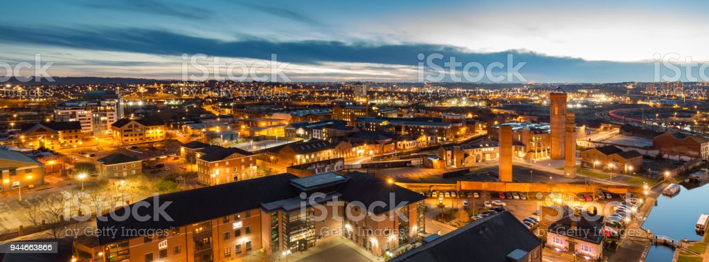 Leeds city centre skyline at night looking over Holbeck stock photo